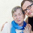 Happy grandmother and grandson — Stock Photo