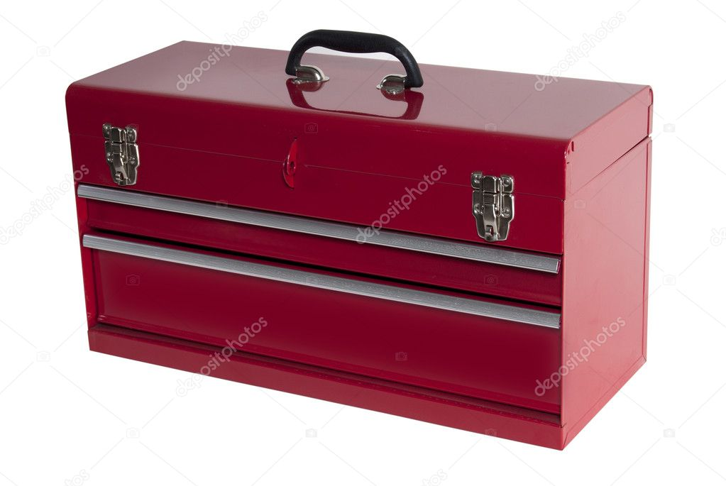 Red metal tool box with three — Stock Photo #3129480