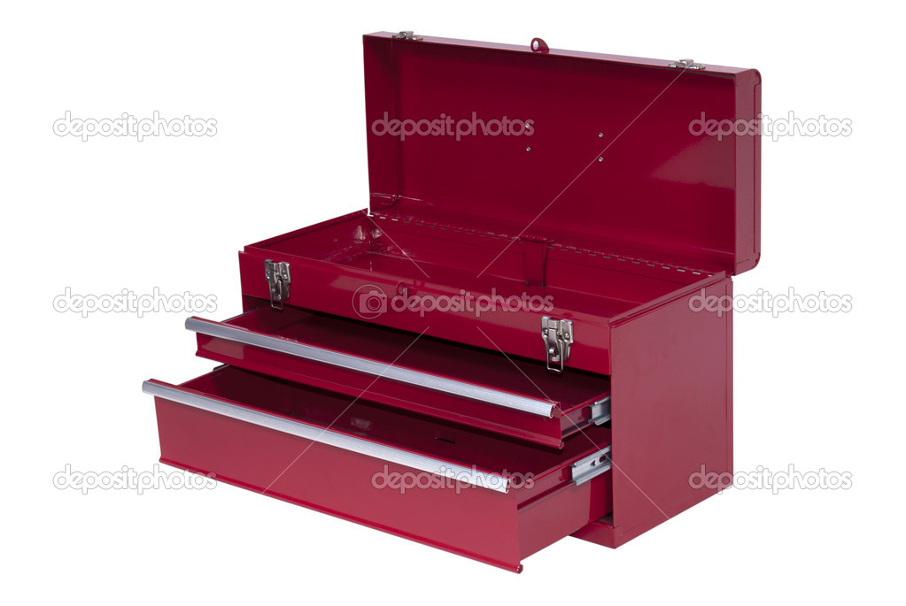 Red metal tool box with three — Stock Photo #3129496