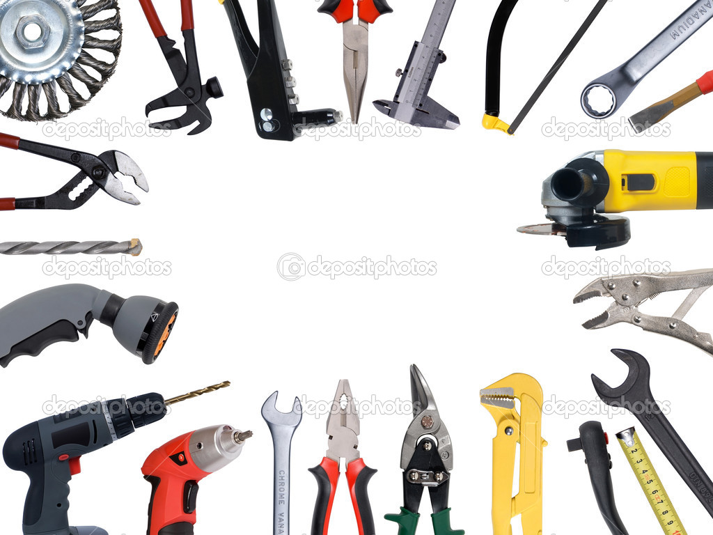Tools set isolated over white background — Foto Stock #3419103
