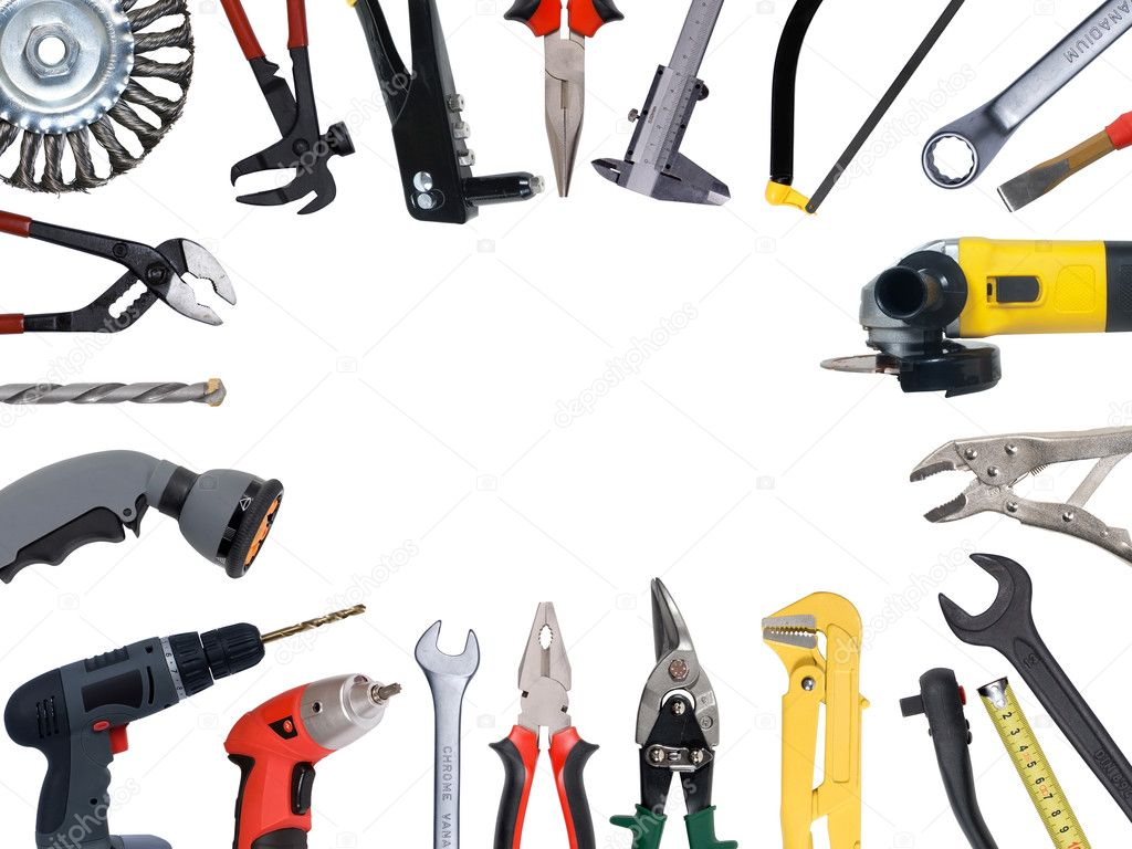 Tools set isolated over white background — Lizenzfreies Foto #3419103