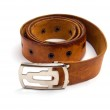 Brown leather belt isolated — Stock Photo