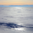 Frozen Lake Baikal. Sunset. — Stock Photo