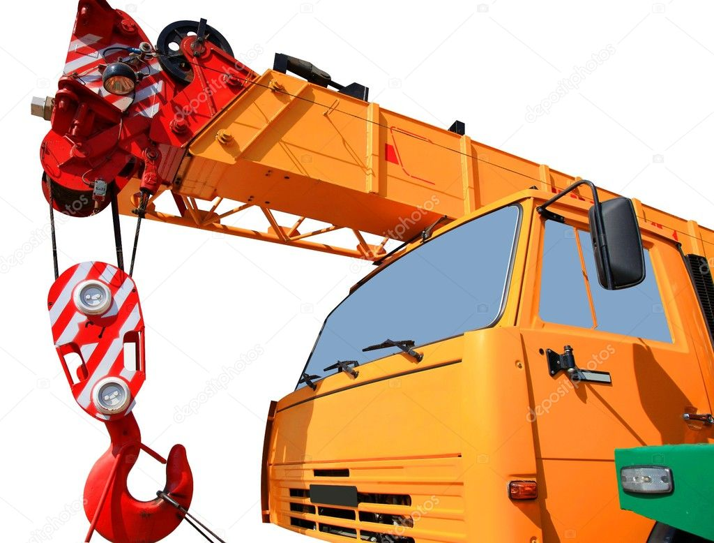 Part of the truck crane isolated on white.  — Stock Photo #3760885