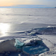 Frozen Lake Baikal. Twilight. — Stock Photo