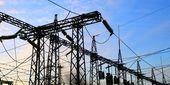 Electrical power station. Twilight. — Stock Photo