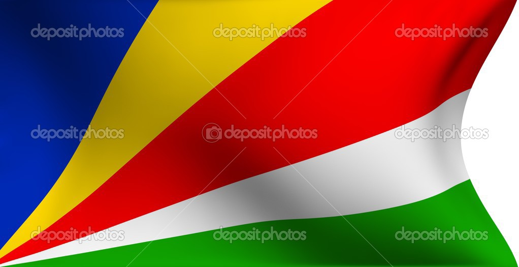 Flag of the Seychelles against white background. Close up.   Stock Photo #4194708