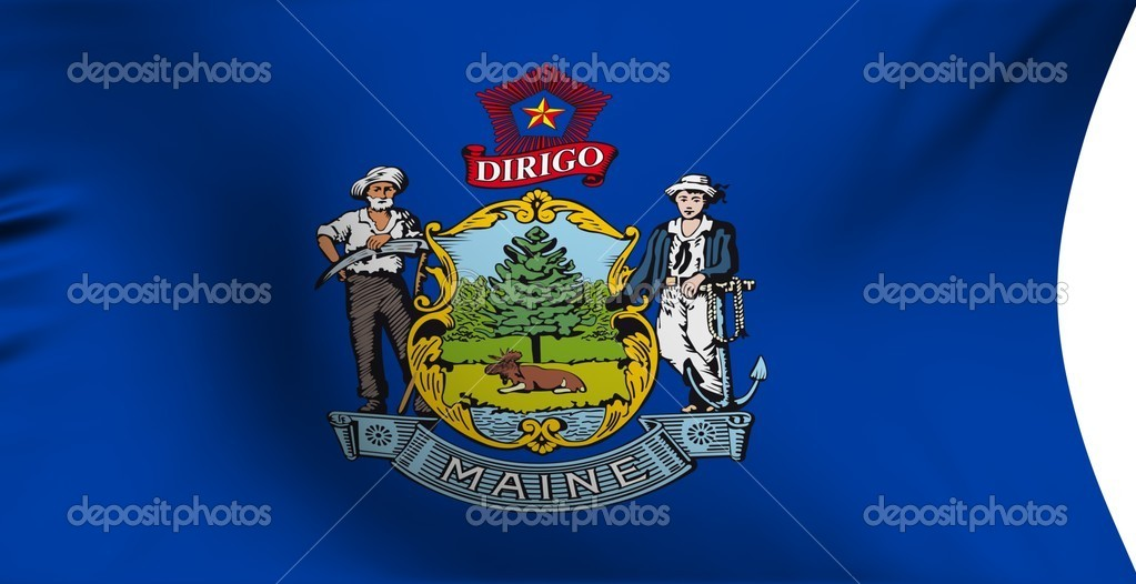 Flag of Maine, USA against white background.   Stock Photo #4253871