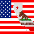 Royalty-Free Stock Photo: Map of California against USA flag.