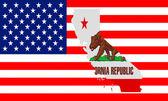 Karta över kalifornien mot usa flaggan. — Stockfoto