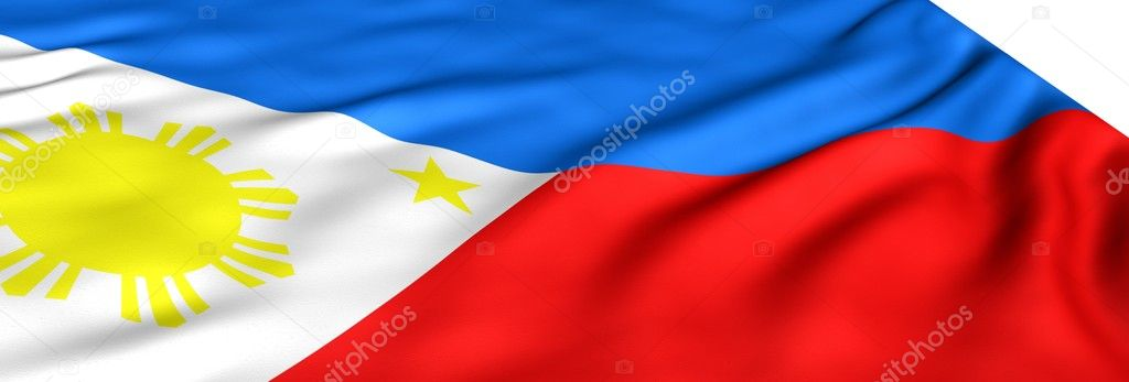 Flag of Philippines against white background. Close up.   Stock Photo #4733291