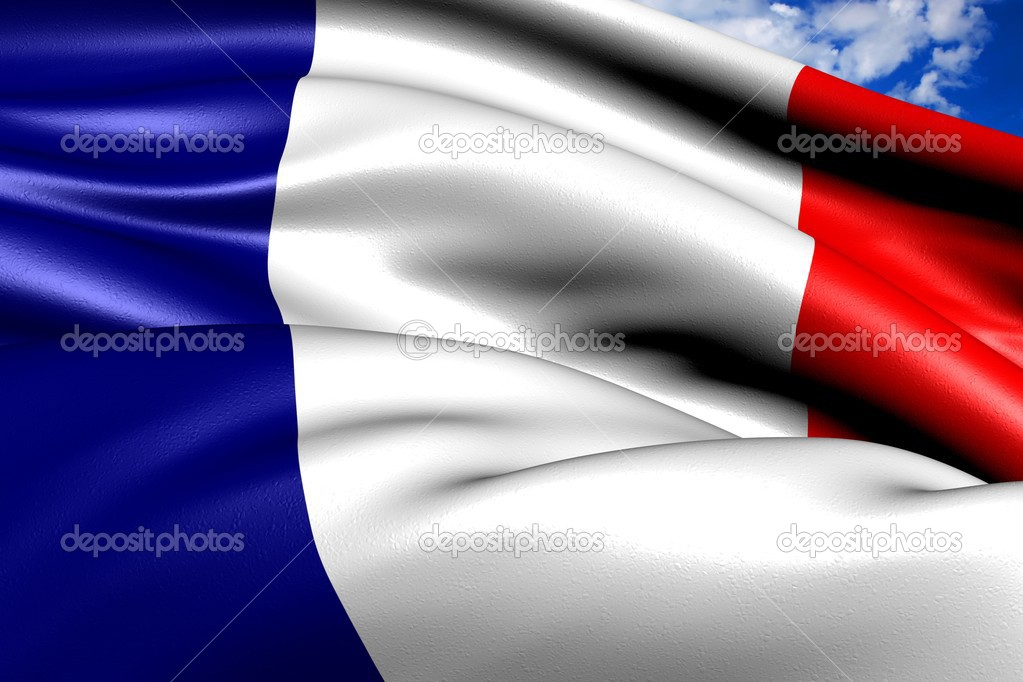 Flag of France against cloudy sky. Close up.   Stock Photo #5152808
