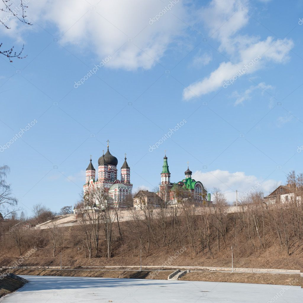 Renovation St. Panteleimon nunnery in Feofania near Kyiv. Cathedral builded in 1910  — Stock Photo #2918685