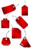 Sada červených samolepky — Stock vektor