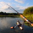 Spinning and evening lake — Stock Photo