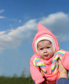 Baby in pink hood — Stock Photo