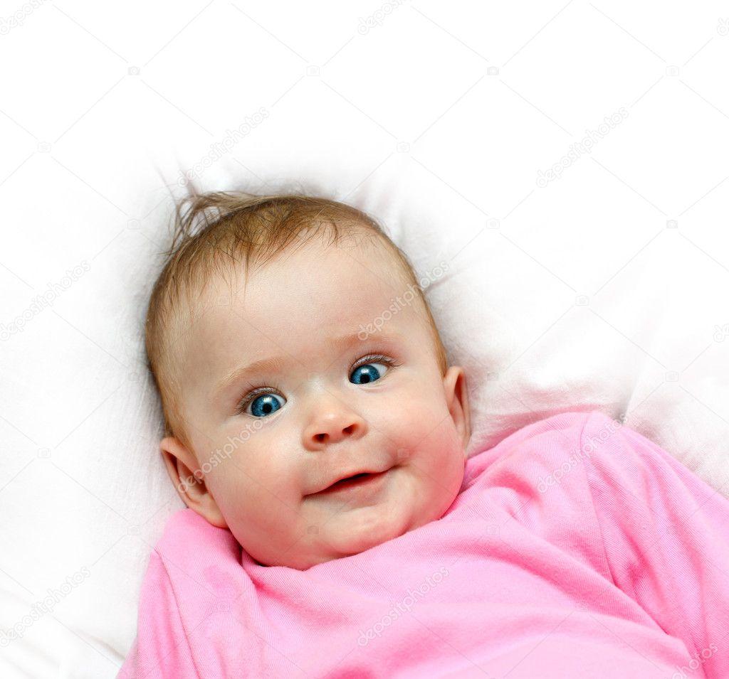 Baby Smiling Smiling Newborn Baby Girl on