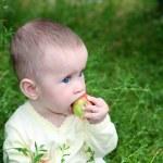 Small baby biting apple — Stock Photo #2939381