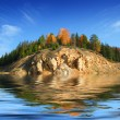 Hill in lake — Stock Photo