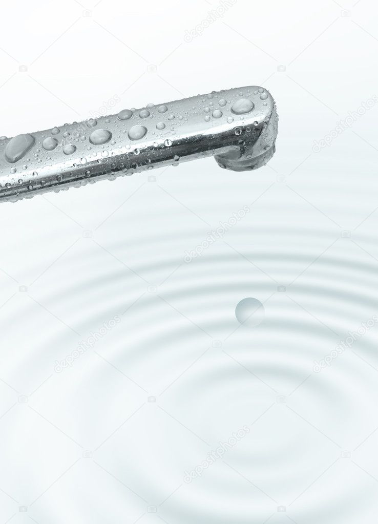 Dripping tap and ripple water illustration  Stock Photo #2939290