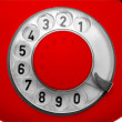 Stock Photo: Old red telephone dial