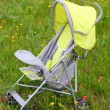 Baby stroller on green lawn — Stock Photo