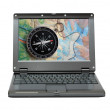 Laptop with compass and map — Stock Photo