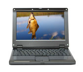 Small laptop with fishing themes — Stock Photo