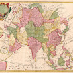 亚洲的古代地图 — 图库照片