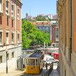 Typical yellow tram in Lisbon — Stockfoto