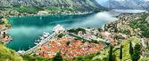 Panoramic view of Kotor bay, Montegro — Stock Photo