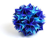 Origami kusudama snowflake — Stock Photo