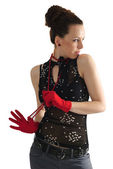 Woman in red beads and gloves — Stock Photo