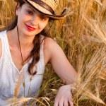 Girl in wheat field — Stock Photo #3319764
