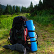 Rucksack on path — Stock Photo