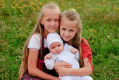 Two sisters and brother — Foto de Stock