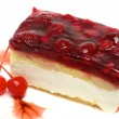 Mouth watering cherry cheesecake macro — Stock Photo