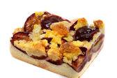 Fresh baked plum cake with pwdered sugar — Stock Photo