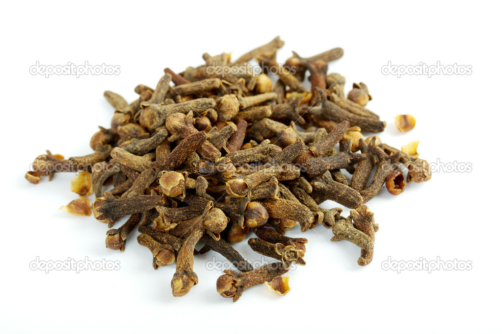 Fragrant clove on white background — Stock Photo #3433437