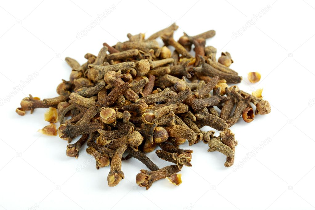 Fragrant clove on white background  Foto de Stock   #3433437