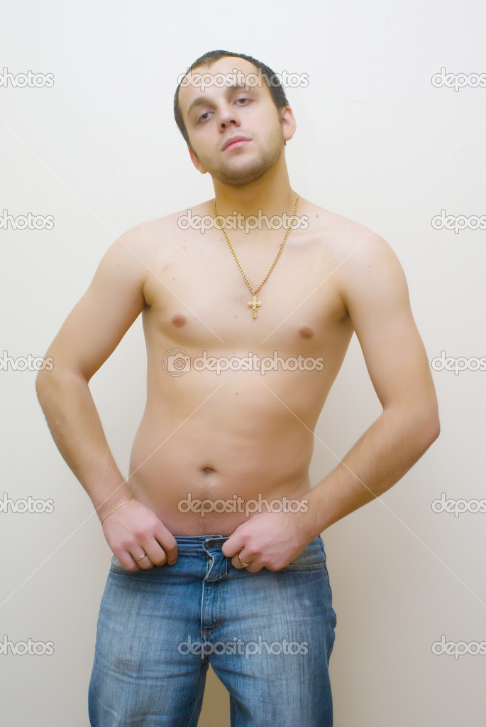 Young man with nake chest  Stock Photo #3559084