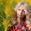 Beautiful blondie with wild flowers — Stock Photo