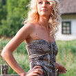 Beautiful blondie in the village — Stock Photo #3750178