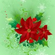 Christmas vector design with a decorative flowers - Stock Vector