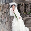 Young beautiful bride outdoor — Stockfoto