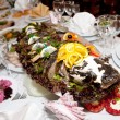 Banquet table,stuffed fish — Stock Photo