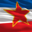 Waving flag of Yugoslavie - Stock Photo
