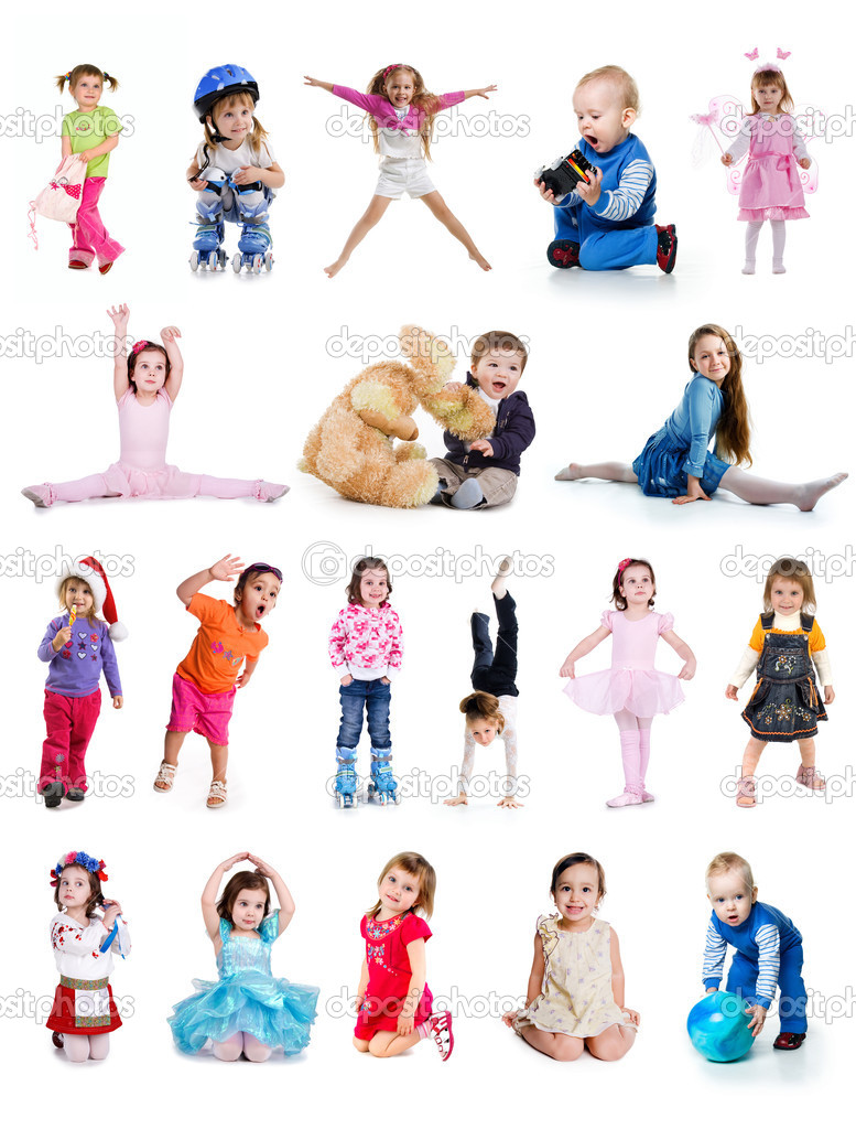 Set of cute little children isolated on white — Stock Photo #2794890