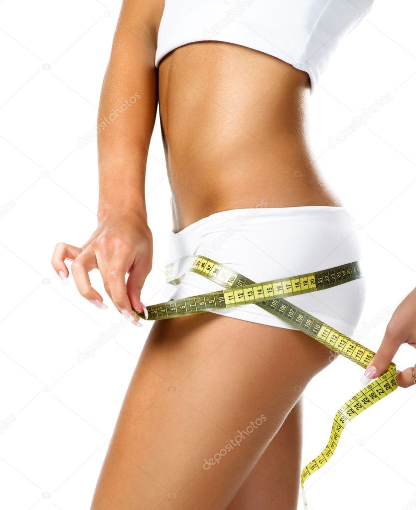 Woman measuring perfect shape of beautiful hips. Healthy lifestyles concept    #2854695
