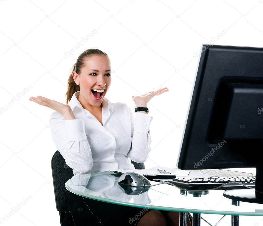 Happy businesswoman sits at the computer. Studio shot — Stock Photo #2930670